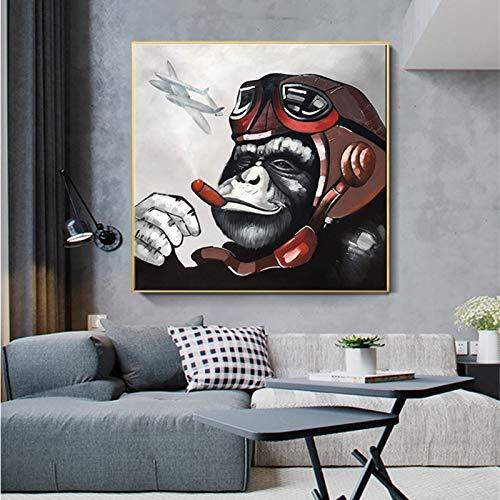 UHvEZ Mono Gorila fumando Animal póster y Mural Lienzo Pintura Mural Imagen Sala de Estar Dormitorio sin Marco 40x40cm