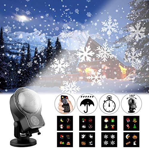 Albrillo Proiettore Luci Natale - LED Illuminazione Esterno & Interno 2 in 1(Neve e Immagini), Telecomando 8 Lenti Intercambiabili, 6 Tipi di Temporizzata, Luci Natalizia per Compleanno, Festa, IP44