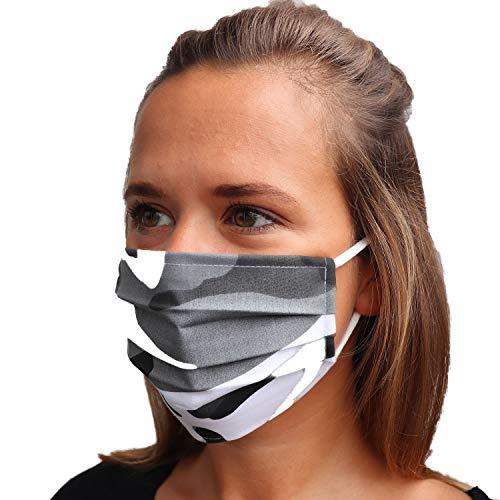 LIEVD Mundschutz Maske 100% Baumwolle Made in Germany | OEKO-TEX 100 | Gesichtsmaske waschbar | Mund und Nasenschutz wiederverwendbar | Behelfsmaske 2-lagig (Größe L - Camouflage Schwarz Weiß)