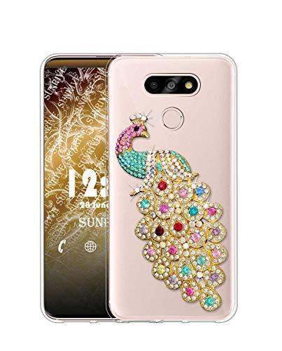 Sunrive Kompatibel mit LG G5 SE Hülle Silikon, Glitzer Diamant Strass Transparent Handyhülle Schutzhülle 3D Etui handycase Case (Pfau) MEHRWEG