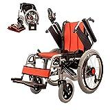 ZDW Silla de ruedas eléctrica plegable ultra ligero de 39 Lb W/Potente batería de litio incluida, sillas de ruedas W / 360 y el grado; Control de la palanca, los viajes aéreos compatibles Sillas de