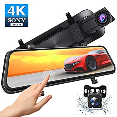 Xeapoms 4K 10'' Mirror Dash Cam Backup Camera for Cars [Support GPS], Front and Rear View Dual Lens, Sony Night Vision Sensor, Parking Assistance, G-Sensor Emergency Recording