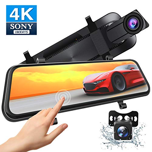 Xeapoms 4K 10'' Mirror Dash Cam Backup Camera for Cars [Optional GPS],Front and Rear View Dual Lens,Sony Night Vision Sensor,Parking Assistance,G-Sensor Emergency Recording In-Mirror Video