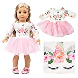 American Girls Doll Unicorn Clothes Outfit Pajamas 18 Inch Unicorn American Girls Doll Clothes and Accessories for 18' American Girls Dolls Clothes ,My Life Girls Doll Clothes Baby Journey Accessories