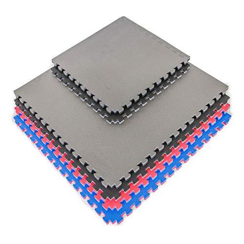 IncStores – 1″ MMA Interlocking Foam Tiles (Black/Grey, 16 Tiles (2ft x 2ft Tiles) 64 Sqft) – Perfect for Martial Arts, Lightweight Home Gyms, p90x, Insanity, Gymnastics, Yoga, Cardio and Aerobics