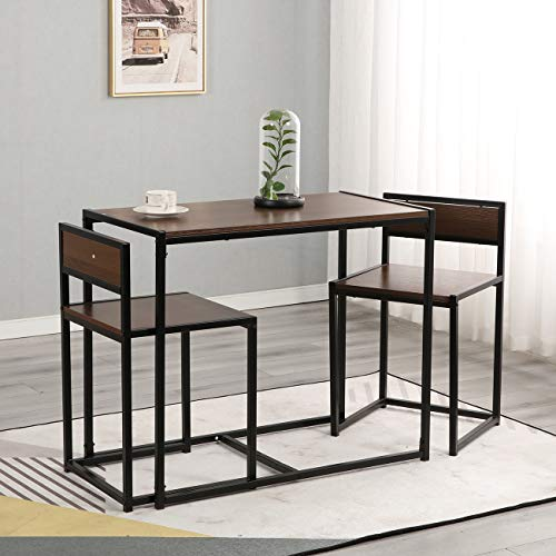 SogesGame 3 Pieces Dining Set, Kitchen Table and Chairs for 2-4, Perfect for Breakfast Nook, Living Room,LD-CT01WNT-S8-US