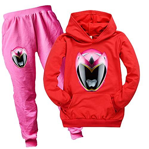 Power Ranger - Sudaderas con bolsillo para niños y niñas, con capucha y pantalones unisex para niños, rosso, 3-4 Años