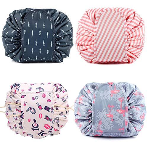 4 Stück Lazy Kosmetiktasche Tragbare Große Kapazität Make-Up Taschen Multifunktions Kordelzug Reise Wasserdicht Kulturbeutel für Frauen und Mädchen