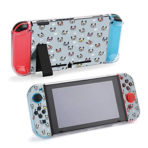 SUPNON Funny Face French Bulldog with Sunglasses Protective Case Compatible with Nintendo Switch Soft Slim Grip Cover Shell for Console & Joy-Con with Screen Protector, Thumb Grips Design23905
