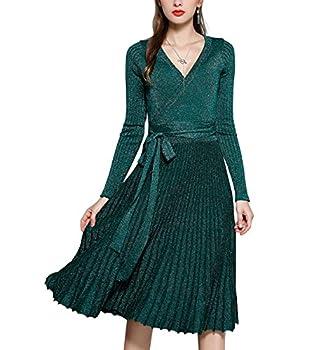 R.Vivimos Women Autumn Long Sleeve V Neck Elegant Glitter Knitted Slim Knee-Length A-Line Sweater Dress One Size Style-2 Green