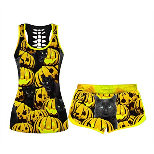 Buy Bargain Toimothcn Halloween Outfits Womens 2PC Shorts Set Plus Size Fun Letter Printed Tank Top ...