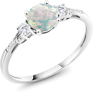 Gem Stone King 10K White Gold White Simulated Opal White Created Sapphire and Diamond Accent 3-Stone Women's Engagement Ring 0.45 cttw (Available 5,6,7,8,9)