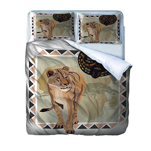 AOUAURO Funda de Edredón león 3D Impresión Juego de Ropa de Cama 150x200 Poliéster con Cremallera Oculta 1 Funda Nórdica y 2 Funda de Almohada 3 Piezas Individual