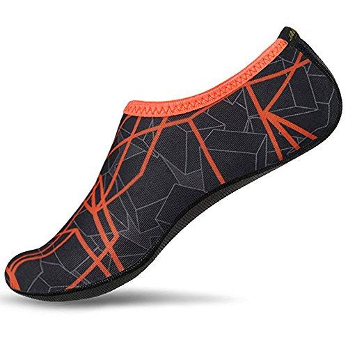 JACKSHIBO Herren Damen Barfuß Wasser Schuhe Unisex Aqua Shoes für Strand Schwimmen Surf Yoga, Erwachsene M=225-235MM, Dark Orange