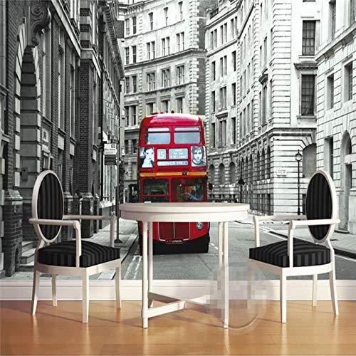 Bdhnmx-Fototapete 3D Die Familie dekoriert einen europäischen Doppeldeckerbus London Foto-TV Wohnzimmer Vlies Printed Wallpaper Murals 3D-400cmx280cm