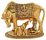 Package Contains :- 1 Cow and Calf Statue (Golden brass) This holy cow will enhance the luck of your house. Suitable for home, office and also suitable for present purpose for your near and dear This statue of the endeared Hindu cow & its calf is an ...