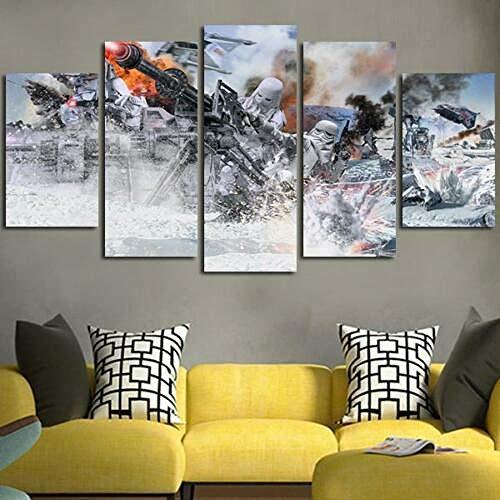 45Tdfc 5 Panel Pared Arte Pintura Star Wars Batalla de Hoth Fotos Prints en Lienzo la Imagen Decor Aceite para decoración de hogar Moderno