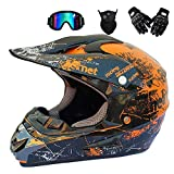 GWJ Adult Off Road Helm Dot Dirt Bike Motocross ATV Helm/Brille/Maske/Handschuhe,Orange,M