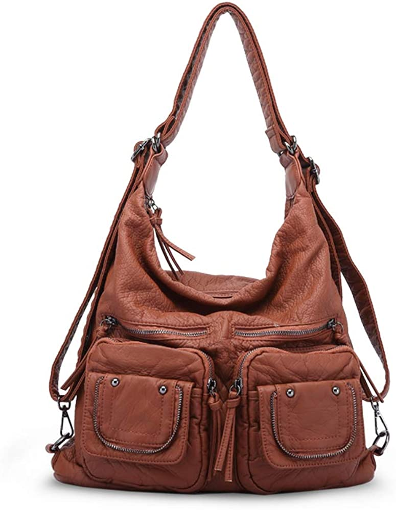 handbags & shoulder bags for woman super soft washed PU leather hobo bags multiple use woman's cross body bag backpack