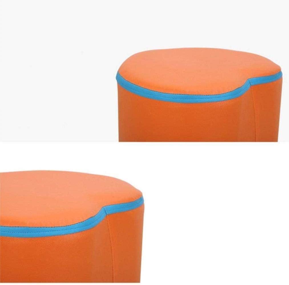 Chaise Repose-pieds PU + Tabouret en bois massif Accueil Tabouret Taille Produit 34 * 36 * 34CM (longueur, largeur, hauteur) (Color : Blue) Orange