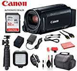 Canon VIXIA HF R80 Camcorder (1959C001) with Accessory Bundle Package SanDisk 32gb SD Card + Deluxe Cleaning Kit + 12' Tripod + More