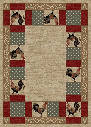 Rustic Lodge Rooster Area Rug, Beige, Brick Red