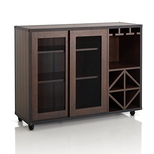 ioHOMES Sallos Contemporary Sliding Door Multi Storage Buffet with Wine Rack and Caster Wheels, Vintage Walnut