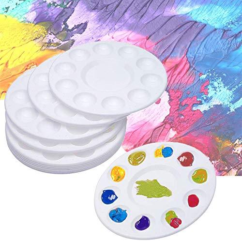 WEWIND 페인트 PIANT 트레이 둥근 플라스틱 컵 케이크를 팔레트에 빨 페인트 홀더를 위한 아크릴 유화 수채화 공예 예술 공급 DIY 팔레트 12PCS