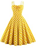 Nihsatin Women's Rockabilly 50s Vintage Spaghetti Strap Polka Dots Cocktail Swing Dress Yellow