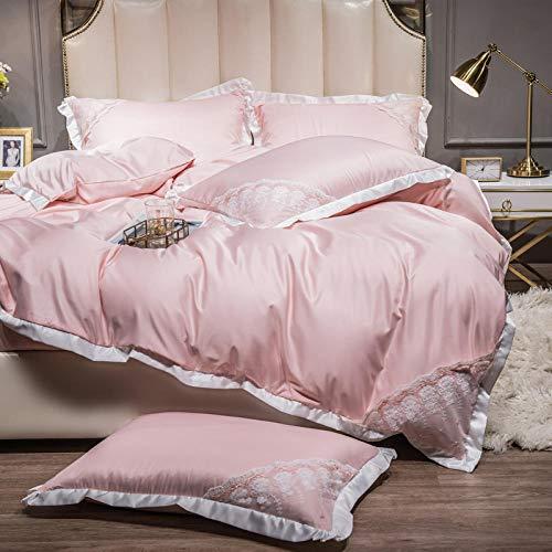 Juego de Funda de edredón tamaño King,Ropa de cama de verano es un juego de seda de hielo de cuatro piezas de cuatro piezas de lavado de agua de doble cara, ropa de cama de seda-GRAMO_Cama de 2.0m -
