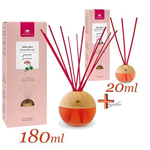 CRISTALINAS Ambientador Mikado 0% Alcohol. Esfera Premium. Pack Dos formatos:180ml + 20ml. Duración +16 semanas (180ml). y 6 semanas (20ml). Aroma Geranio