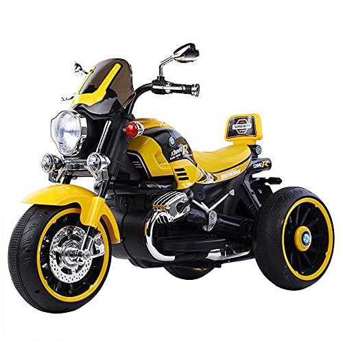 ZLH Niños Pedal Eléctrico Motocicleta, Duración De La Batería De 6V Paseo En El Juguete con Los Faros del Cuerno De La Música Motorbike para Niñas Boy 3-6 Años,Amarillo