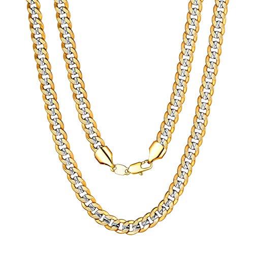 ChainsPro 6/6.5/10 MM Cadena Gruesa de Eslabones Cubanos, Collar Curb Cobre, Joyería para Hombre y Mujer, Chapado en Oro 18K Dos Tonos, 46-76CM de Longitud