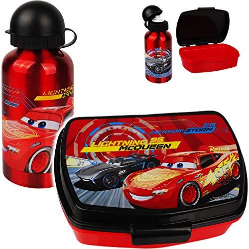alles-meine.de GmbH 2 TLG. Set: Trinkflasche + Lunchbox / Brotdose - Disney Cars - Auto - Lightning McQueen - BPA frei - mit extra Einsatz / herausnehmbaren Fach - Brotbüchse Küc..