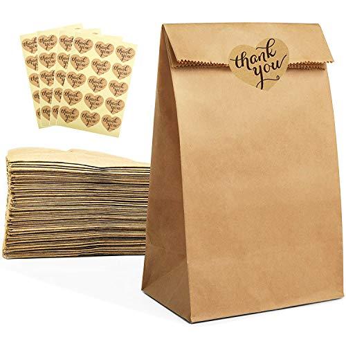 Papiertüten Braun, NETUME 50 STK Kraftpapier Tüten/Papier Beutel mit Boden für Essen, Brottüten,Geschenktüten Papier für Weihnachten, Partygeschenke, Hochzeit,Imbissbuden, mit Danke Aufkleber