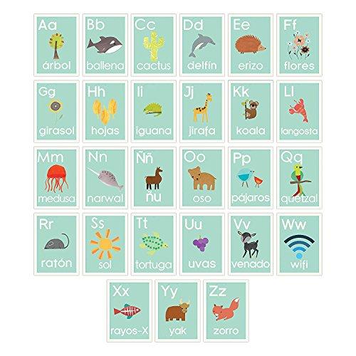 Wandkarten mit spanischem Alphabet, blaue Natur, Kinderzimmer-Dekoration, Geschlechtsneutral, Kinderzimmer-Dekoration 11x14 blau