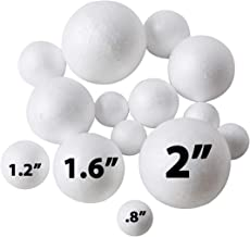 Crafare 56pc 2 Inch White Smooth Styrofoam Balls for Holiday Crafts Making and School Projects
