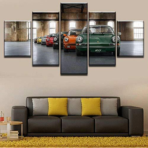 MENGLE 3D Wandaufkleber Kunst Malerei Rahmen Wandbild Ölgemälde Tapete Leinwand Gemälde 5 Stücke Aufeinanderfolgende Bilder Home Decoration Poster Rahmen 150X80Cmgerahmtes Klassisches Porsch 911 Auto