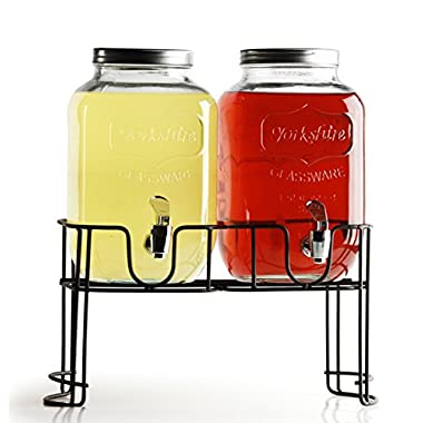 Circleware Double Yorkshire Mason Jar Glass Beverage Drink Dispensers with Metal Stand, 1 gallon, Clear