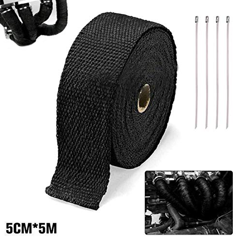 Exhaust Band Heat Protection Tape,Fibre Reinforced Exhaust System Insulating Tape Heat Protection,Heat Protection Tape Basalt Fibre for Manifold,Thermal Band,Car,Motorcycle Exhaust,5 m