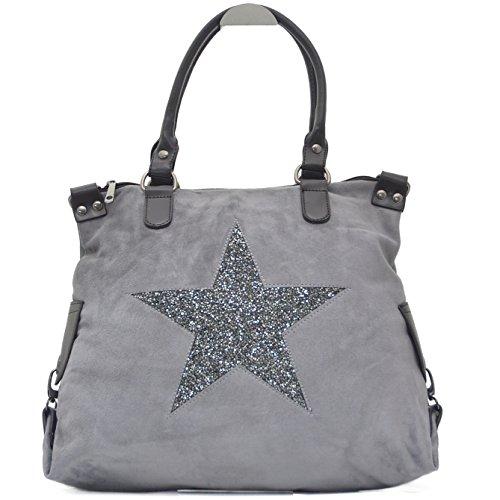 Vain Secrets Sternen Shopper Damen Handtasche mit Schulterriemen (Grau Samt)