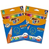 BIC Ecriture Kids Evolution ECOlutions Crayons de Couleur - Couleurs Assorties, Lot de 2 Etuis Carton de 18