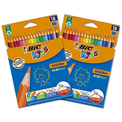 BIC Kids Matite Colorate, Evolution ECOlutions, Ottime per la Scuola, Matite Triangolari per Bambini, Colori Assortiti, 2 Confezioni x 18 Unità