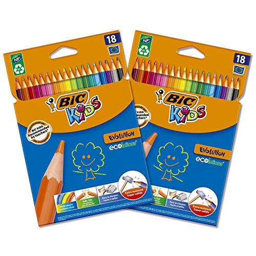 BIC Kids Evolution ECOlutions Matite per Colorare - Colori Assortiti, 2 Pacchi da 18