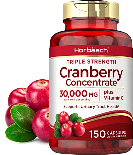 Horbaach Cranberry (30,000 mg) + Vitamin C 150 Capsules | Triple Strength Ultimate Potency | Non-GMO, Gluten Free Cranberry Pills Supplement from Concentrate Extract