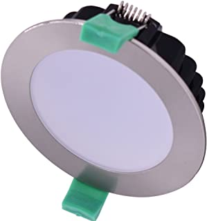 Pack of 6 Pcs 13W LED Downlights Kit 90mm Dimmable Satin Chrome Cool White 5000K Recessed Ceiling Lights 1050lm 5 Yrs Warr...