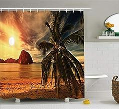 Beach Shower Curtain Set Ocean Decor, Havana Beach Sunny Tropics Mountains and Rocks, Bathroom Accessories, with Hooks, 71...