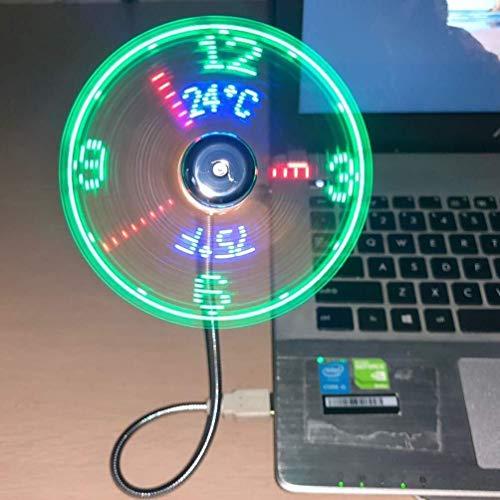 KK Gabby El Nuevo Reloj De Tiempo Real con Ventilador De Reloj USB Y Pantalla De Temperatura, Plata (Temperatura Y Reloj) (Color : Silver)
