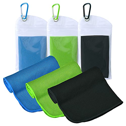 """ICECUUL Cooling Towel 3 Packs (47""""x12"""") Microfiber Towel for Instant Cooling Relief, Cool Cold Ice Towel for Yoga Golf Travel Gym Sport Camping Running & Outdoor Sports"""
