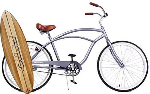 Fito Anti Rust Light Weight Aluminum Alloy Frame, Marina Alloy 1-Speed for Men - Matte Grey, 26' Wheel Beach Cruiser Bike Bicycle